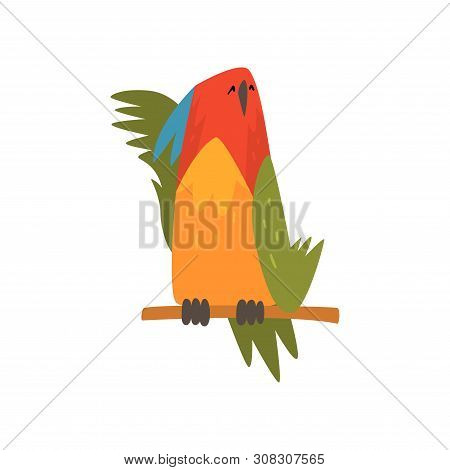 Cute Bird Napping On While Sitting On Perch, Funny Birdie Cartoon Character With Bright Colorful Fea
