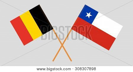 Chile And Belgium. The Chilean And  Belgian Flags. Official Colors. Correct Proportion. Vector Illus