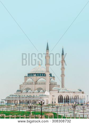 Sharjah Mosque second biggest mosque United Arab Emirates beautiful traditional Islamic architecture new tourist attraction in Middle east poster
