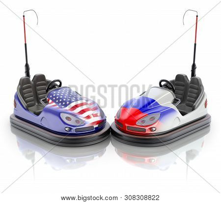 Usa Versus Russia Business Concept With Bumper Cars And Flags - 3d Illustration