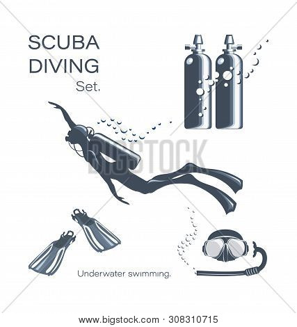 Scuba Diver Woman In Wetsuit, Scuba And Accessories. Set Of Elements For Diving. Collection Of Equip