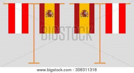 Austria And Spain. The Austrian And Spanish Vertical Flags. Official Colors. Correct Proportion. Vec