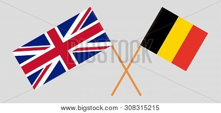 The Uk And Belgium. British And  Belgian Flags. Official Colors. Correct Proportion. Vector Illustra