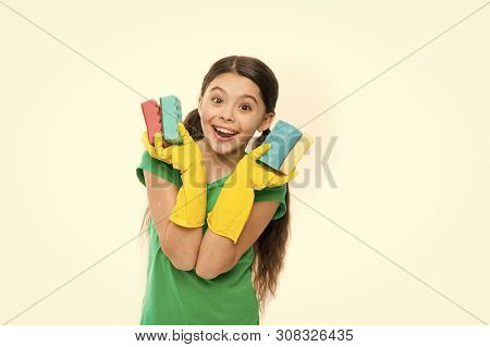 Cleaning With Sponge. Cleaning Supplies. Girl In Rubber Gloves For Cleaning Hold Many Colorful Spong