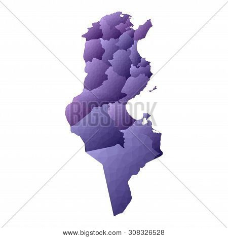 Tunisia Map. Geometric Style Country Outline. Mind-blowing Violet Vector Illustration.
