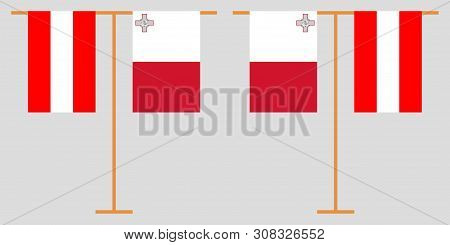 Austria And Malta. The Austrian And Maltese Vertical Flags. Official Colors. Correct Proportion. Vec