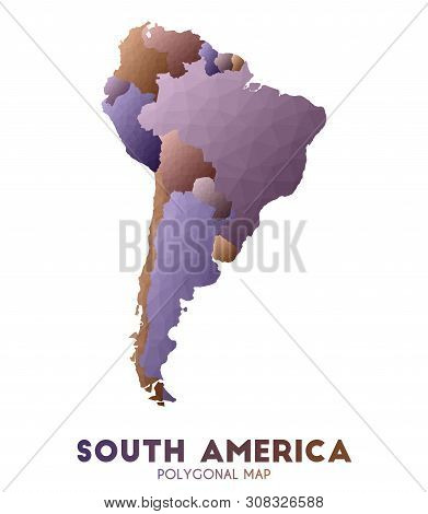 South-america Map. Admirable Low Poly Style Continent Map. Bold Vector Illustration.