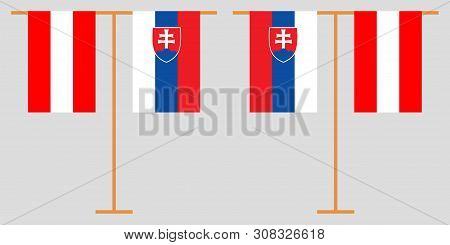 Slovakia And Belgium. The Slovakian And  Belgian Vertical Flags. Official Colors. Correct Proportion