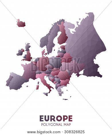 Europe Map. Actual Low Poly Style Continent Map. Majestic Vector Illustration.