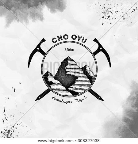 Cho Oyu Logo. Climbing Mountain Black Vector Insignia. Cho Oyu In Himalayas, Nepal Outdoor Adventure
