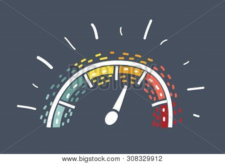 Dashboard Icon In Doodle Sketch Lines. Control Panel, Odometer, Speedometer