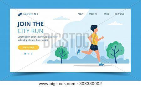 Running Landing Page Template. Man Running In The Park. Illustration For Marathon, City Run, Trainin