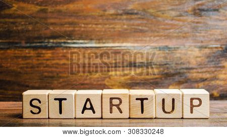 Wooden blocks with the word Startup. Temporary structure designed to find and implement a scalable business model. The concept of raising funds for a startup. Crowdfunding. Investing in the future. poster