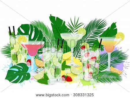 Vector Illustration Of Summer Cocktails Set With Tropic Leaves And Fruits. Design With Classic Mojit