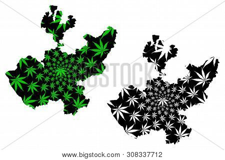 Jalisco (united Mexican States, Mexico, Federal Republic) Map Is Designed Cannabis Leaf Green And Bl