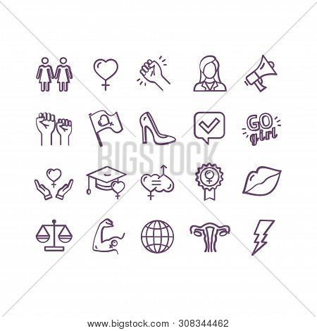 Feminism Signs Thin Line Icon Set. Vector