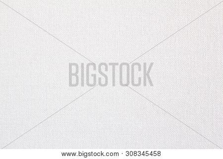 Closeup White Blank Linen Textile Texture Background.