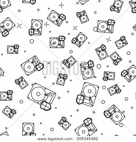 Black Hard disk drive HDD protection icon isolated seamless pattern on white background. Vector Illustration poster