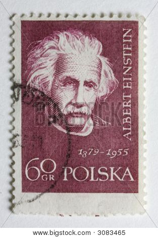 Albert Einstein On A Vintage Post Stamp From Poland