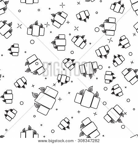 Black Burning Candles Icon Isolated Seamless Pattern On White Background. Old Fashioned Lit Candles.