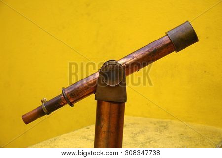 Telescope. Antique Telescope. Vintage Telescope for viewing the stars and sky.