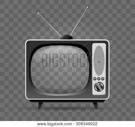Old Tv. Retro Multimedia Television, Vintage Internet Televisor, Presentation 80s Wooden Home Televi