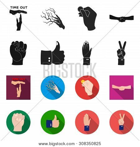Vector Illustration Of Animated And Thumb Icon. Set Of Animated And Gesture Stock Symbol For Web.