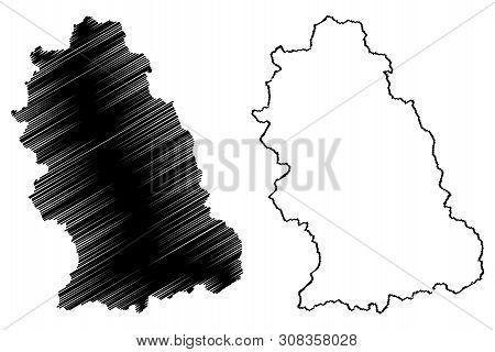 Hunedoara County (administrative Divisions Of Romania, Vest Development Region) Map Vector Illustrat