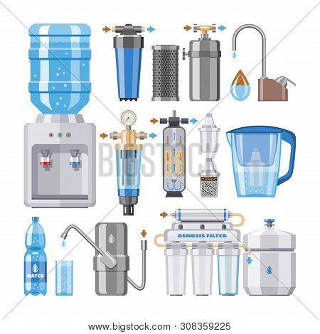 Water Filter Vector Filtering Clean Drink In Bottle And Filtered Or Purified Liquid Illustration Set