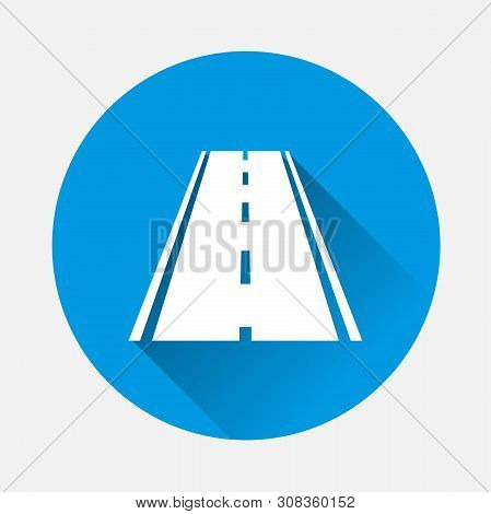 Vector Illustration Road Icon On Blue Background. Flat Image Road With Long Shadow. Layers Grouped F