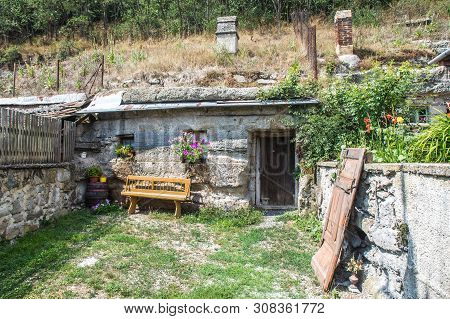 Brhlovce, Slovakia - August 05, 2015:  Old Houses Carved In Stones, Rocks - Undergound. Unique Build