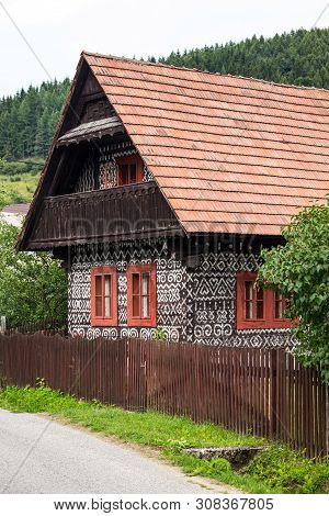 Cicmany, Slovakia - August 02, 2015: Old Wooden Houses In Slovakia Village Cicmany, Traditional Pain