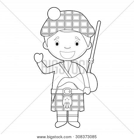 Easy Coloring Cartoon Character From Scotland Dressed In The Traditional Way With Kilt And Bagpipes.