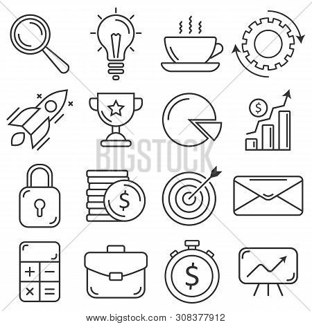Business Icons Set. Flat Thin Line Style. Premium Quality Outline Symbol Collection.