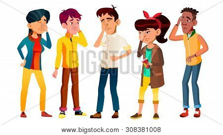 Ashamed Teenagers With Gesture Facepalm Set . Collection Of Mulicultural Character Young People With