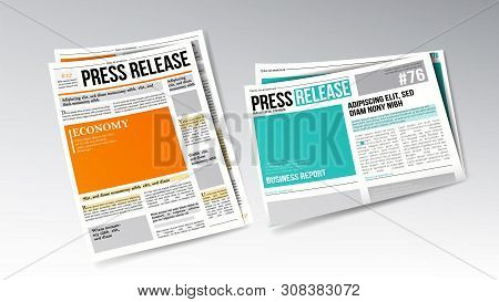 Newspaper Press Release With Headline Set . Colorful Bright Design Template Of Release Daily Informa