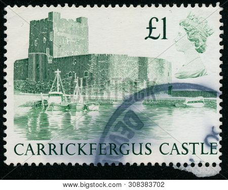 Vintage Stamp Printed In Great Britain 1988 Shows Carrickergus Castle