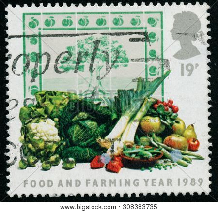 Vintage Stamp Printed In Great Britain 1989 Shows Food And Farming Year