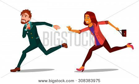 Rush Running Characters Young Man And Woman . Happy Smiling Businessman Male And Female Person Hurry