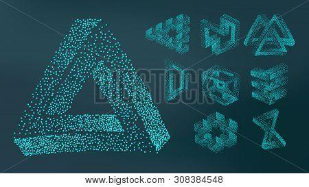 Abstract Stipple Spray Geometric Figure Set . Collection Of Design Decorative Stipple On Dark Backgr