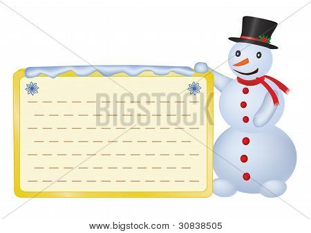 Snowman With Greetings Card
