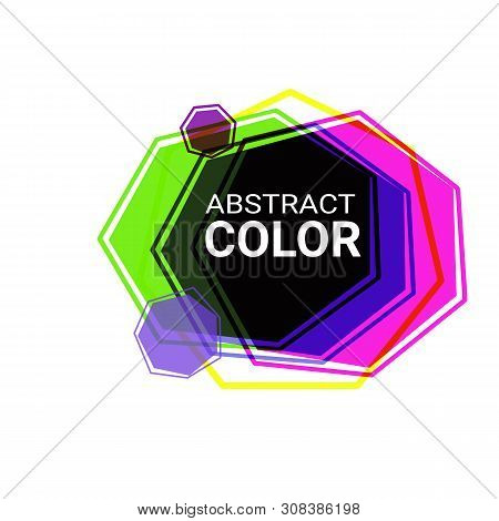Abstract Graphic Forms. Pink, Blue, Green, Purple, Violet Heptagons. Irregular Shapes, Frames, Trans