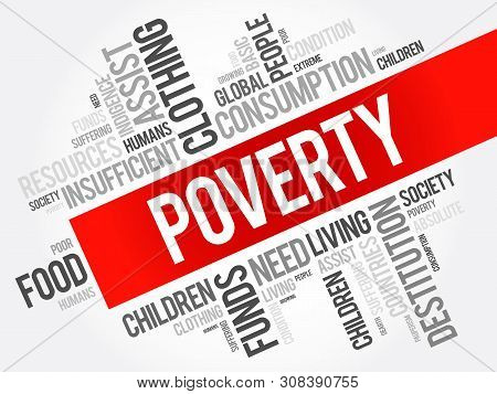 Poverty Word Cloud Collage, Social Concept Background