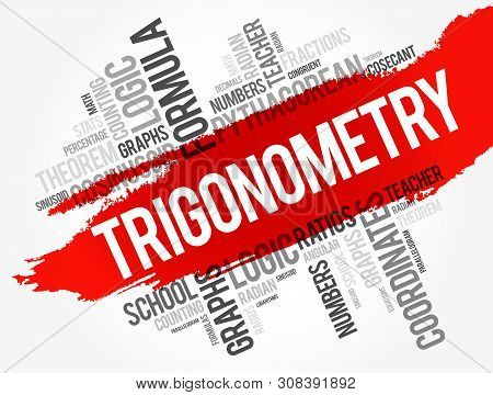 Trigonometry word cloud collage, education concept background poster