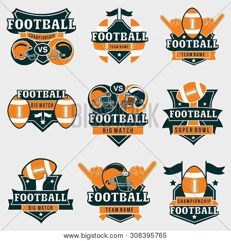 American Football Logos And Badges Collection. Vector Football Prints In Orange And Dark Green Color