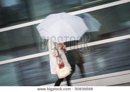 Woman under umbrella in rain