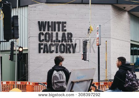 London, Uk - June 15, 2019: White Collar Factory Name On The Building, Selective Focus. White Collar