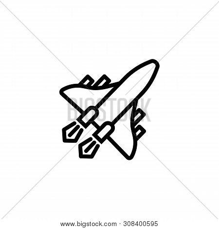 Space Aircraft Line Icon. Jet, Fighter, Airplane. Aircraft Concept. Vector Illustration Can Be Used