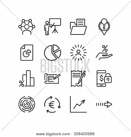 Business Occupation Icons. Set Of Line Icons. Professional Knowledge, Percentage Diagram, Pie Chart.