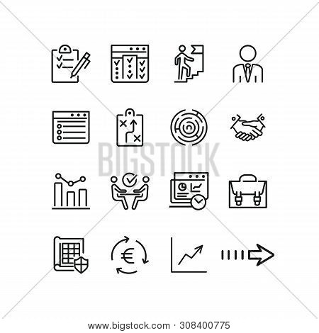 Business Process Icons. Set Of Line Icons. Briefcase, Business Analysis, Career Ladder. Business Con